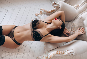 women, Aleksandr Semanin, brunette, black lingerie, women indoors, red lipstick, closed eyes, wooden floor, belly, armpit, open mouth, armchair
