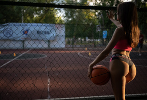 women, basketball court, balls, portswear, brunette, women outdoors, ass, trees