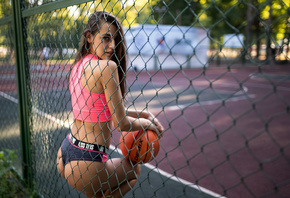 women, basketball court, balls, portswear, brunette, women outdoors, looking at viewer, ass, trees