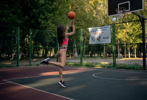women, basketball court, sportswear, ball, women outdoors, sneakers, trees, jumping, brunette