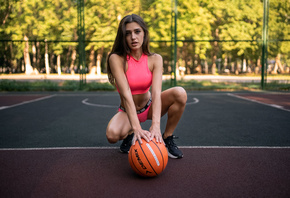 women, basketball court, sportswear, ball, women outdoors, sneakers, trees, squatting, belly, brunette