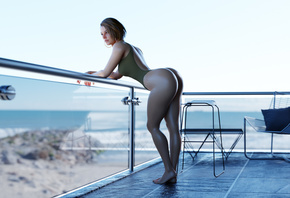 Jill Valentine, Resident Evil, leotard, brunette, ass, beach, sea, balcony, sky, chair, video game art, video games, one piece swimsuits, 3d girl