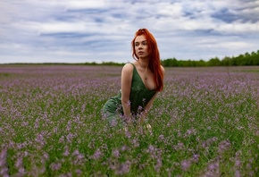 redhead, model, women, nature, green dress, neckline, flowers, grass, sky, clouds, necklace, trees, women outdoors