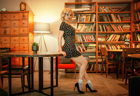 women, blonde, high heels, socks, dress, books, lamp, table, chair, looking at viewer, women indoors, black dress