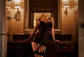 women, lamp, black lingerie, brunette, women indoors, see-through lingerie, mirror, reflection, garter belt, red nails