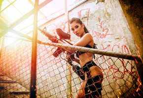 women, ponytail, Paintball, brunette, belly, gun, sparks, pierced navel, ass, black clothing, gloves, black nails