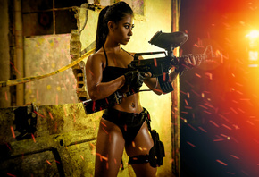 women, ponytail, Paintball, brunette, belly, gun, sparks, pierced navel, body oil, gloves, black clothing, black nails