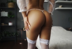 Svetlana Ivanova, bed, model, brunette, ass, thong, white panties, bedroom, white stockings, white nails, lingerie