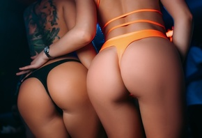 two women, models, blonde, brunette, ass, tattoo, orange panties, black panties, women, lingerie