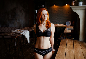 women, redhead, black lingerie, belly, hips, women indoors, table, pierced navel, tattoo, wooden floor, kitchen
