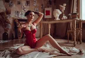 women, sitting, bust, red lingerie, painted nails, red lipstick, women indoors, tattoo, window, curtain, easel, picture, zipper, table, books, armpits, chair