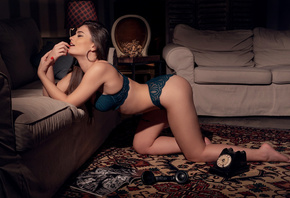 women, phone, kneeling, couch, lingerie, red nails, hoop earrings, women indoors, ass, finger on lips, tattoo, magazine, closed eyes