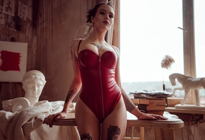 women, zipper, red lingerie, bust, women indoors, books, painted nails, the gap, red lipstick, window, tattoo, easel, picture, table, chair, model, brunette, cleavage