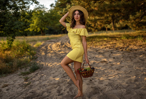 women, skinny, yellow dress, women outdoors, brunette, hat, smiling, fruit, polka dots, necklace, trees