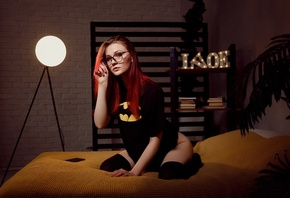 women, dyed hair, glasses, women indoors, kneeling, black stockings, in bed, plants, women with glasses, Batman logo, black t-shirt, cellphone, wall, books