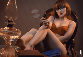 Velma Dinkley, Jennifer Van Damsel, michael mac, cosplay, redhead, orange lingerie, magnifying glass, women with glasses, glasses, orange panties, orange bra, women indoors, ass