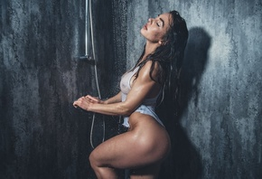 Eliza Rose Watson, women, model, brunette, wet clothing, Wet t-shirt, boobs, ass, bathroom, watering can, wet hair, women indoors, fitness model