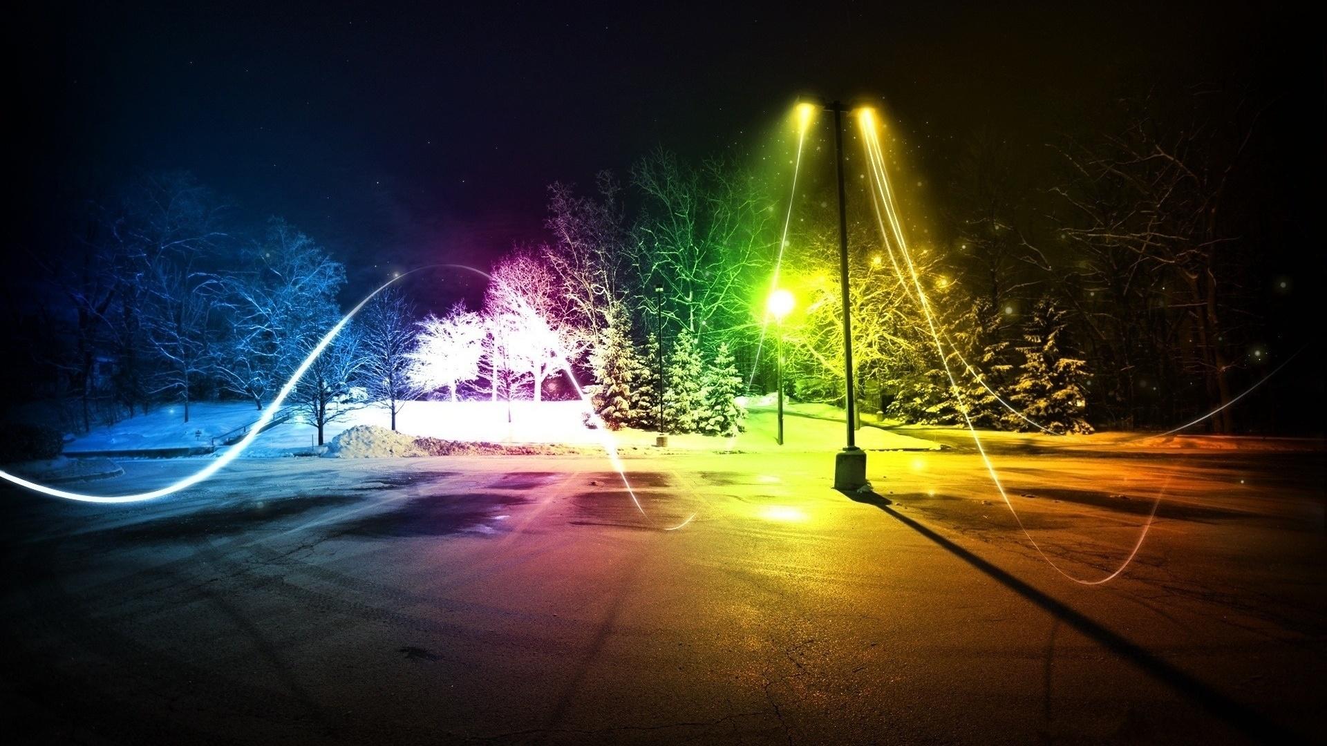 огни, фонарный столб, цвета