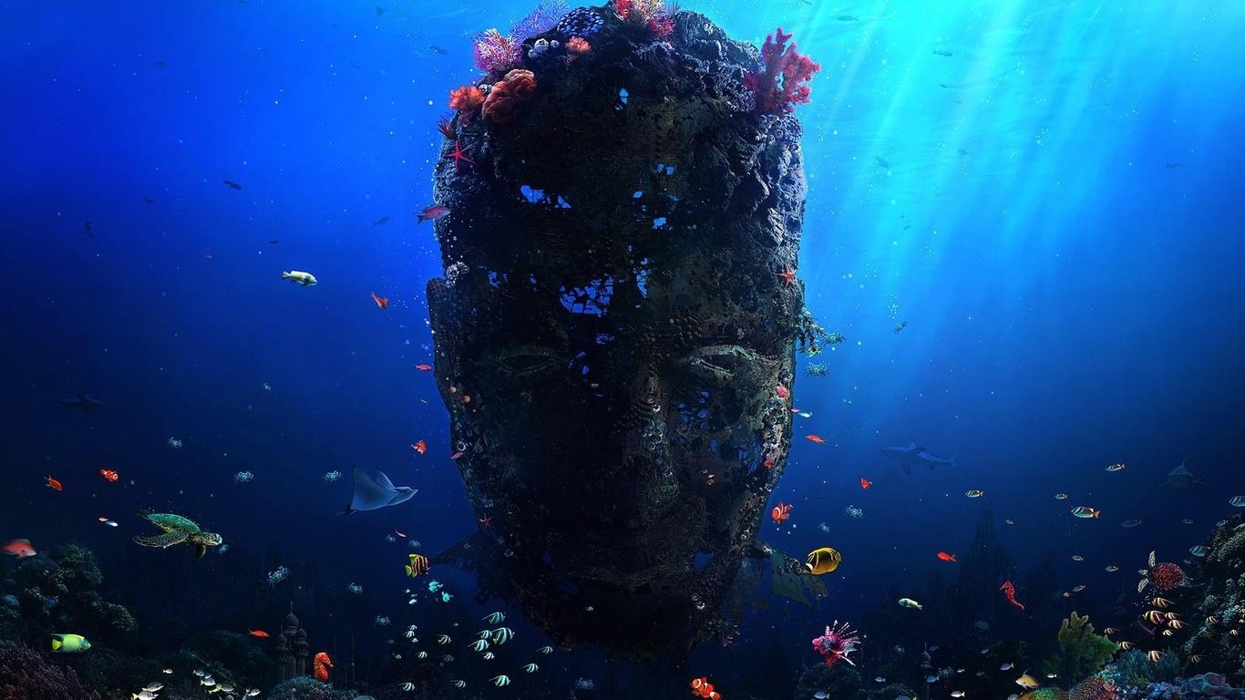 маска, море, рыбки, дно