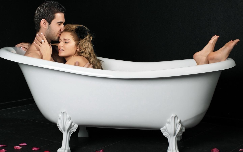 ванна, теплая вода, пара, девушка, парень