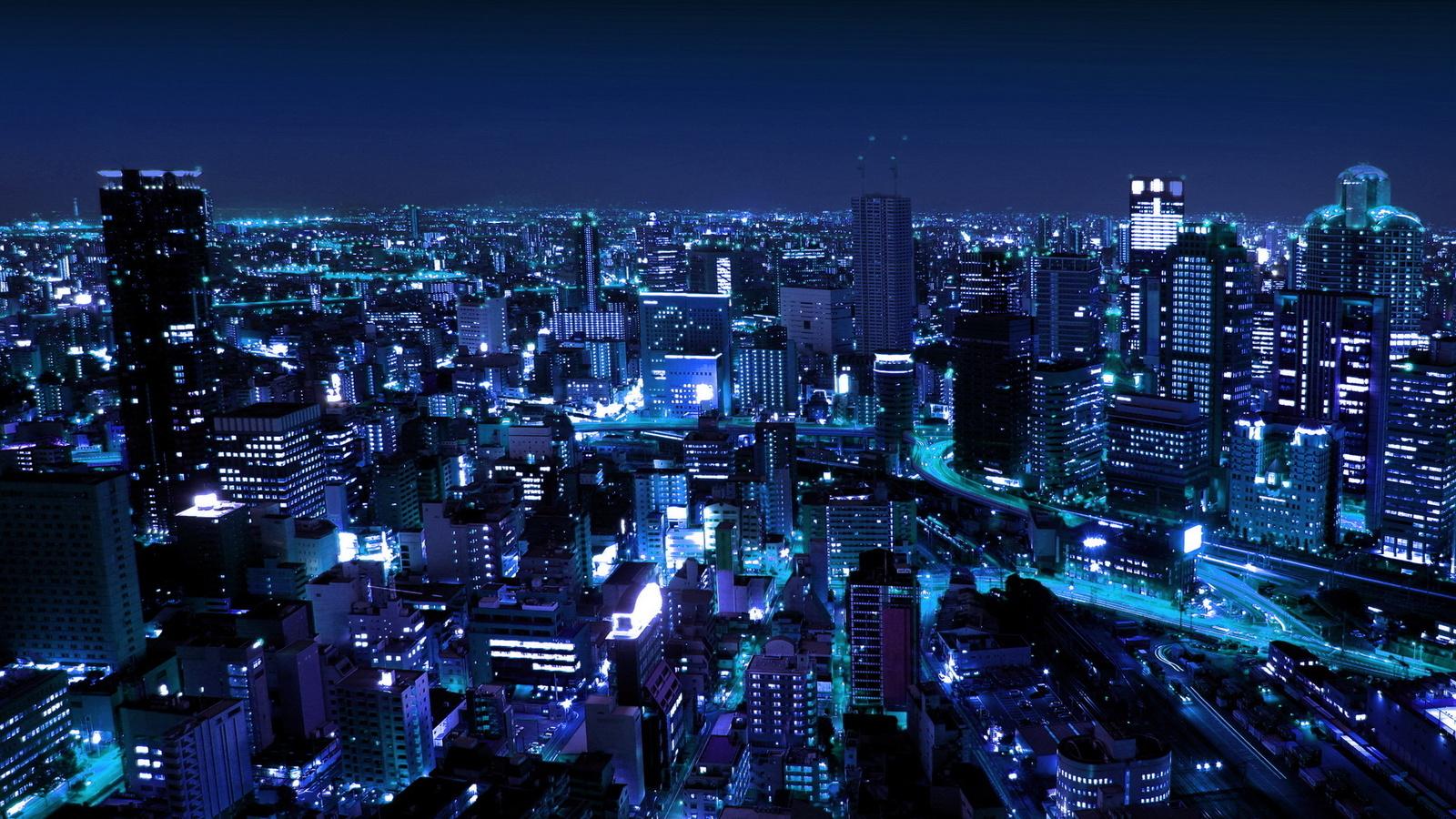 миллионный город, высокие строения, в голубом освещении