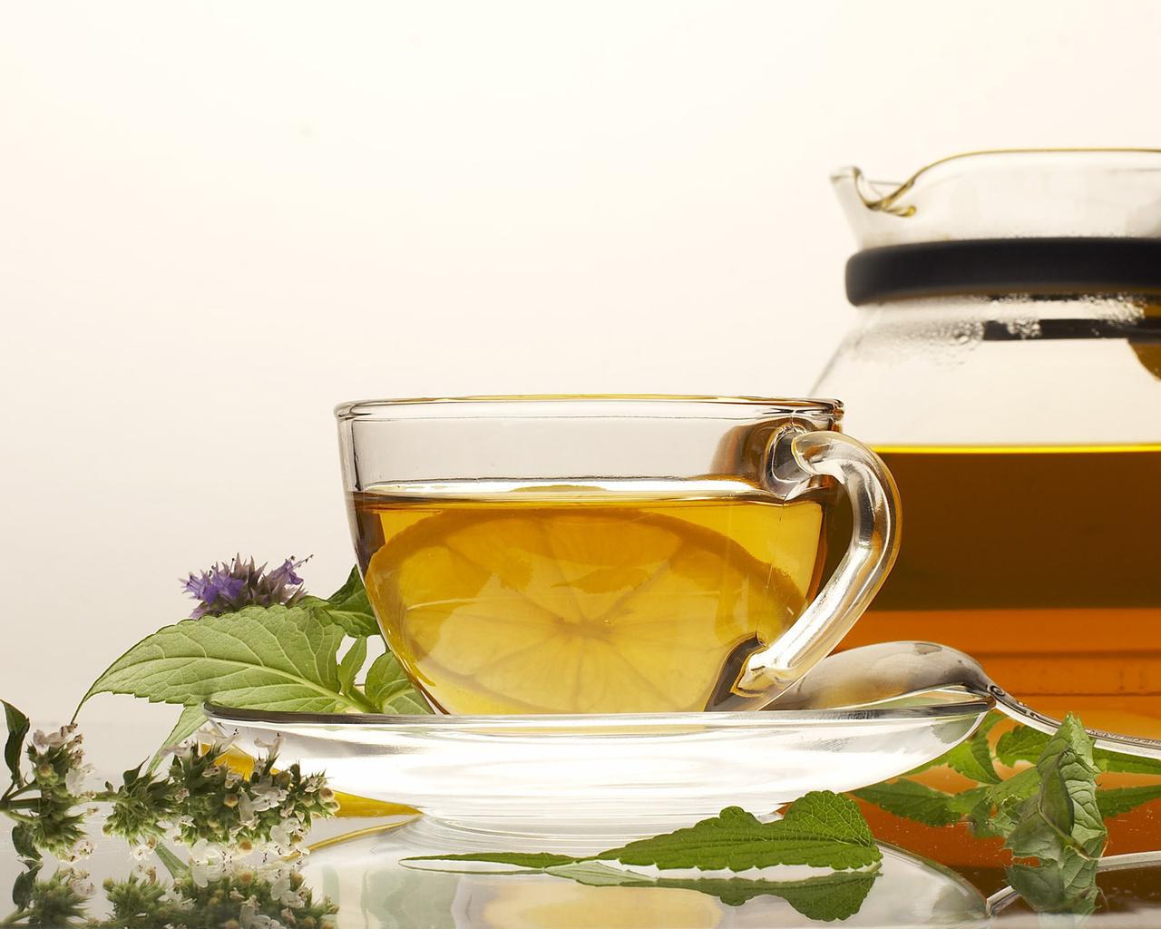 чашка, блюдце, ложка, мята, чай, лимон