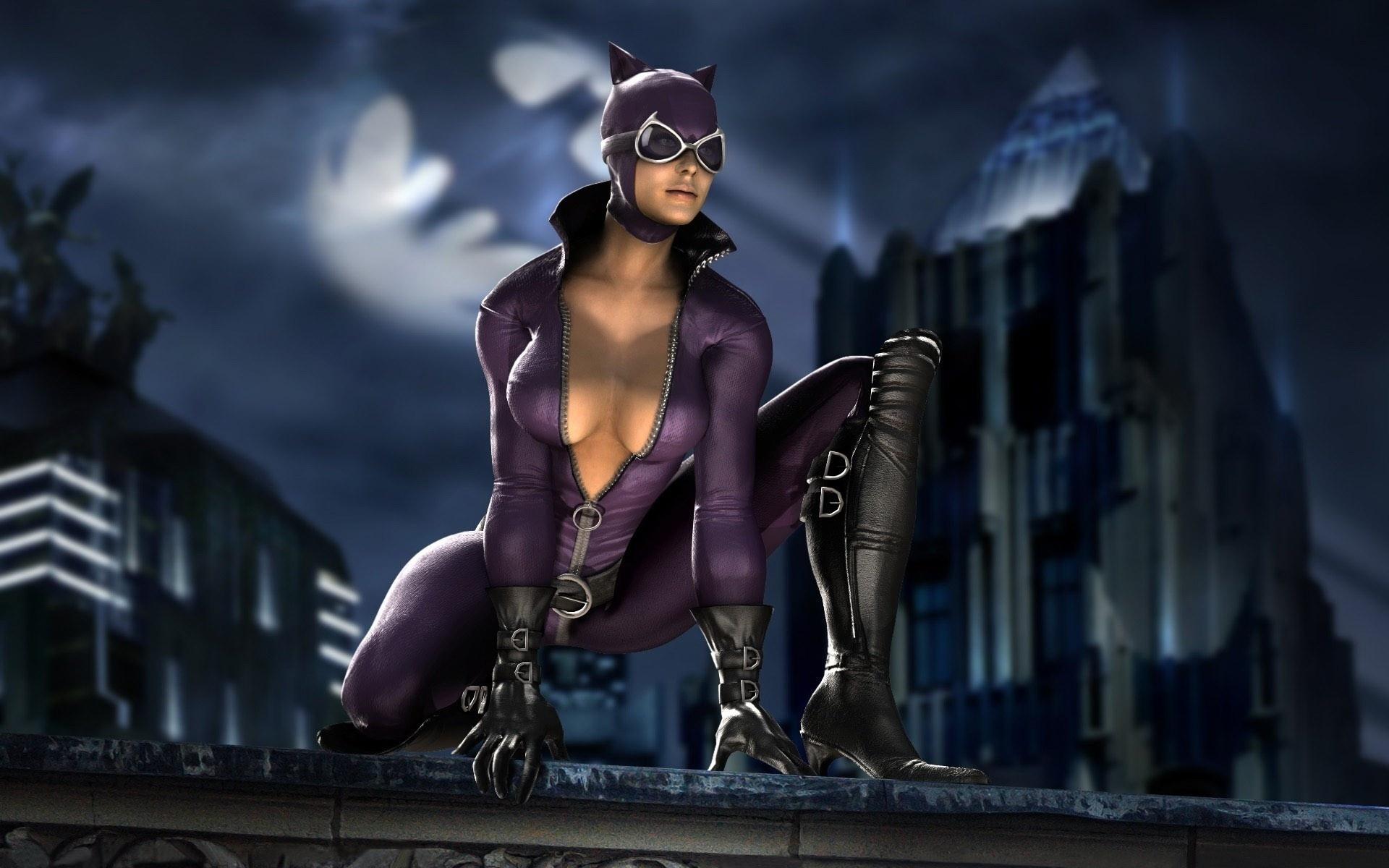 героиня, женщина, кошка, бэтмен, на крыше, поза, костюм, dc, catwoman, женщина-кошка