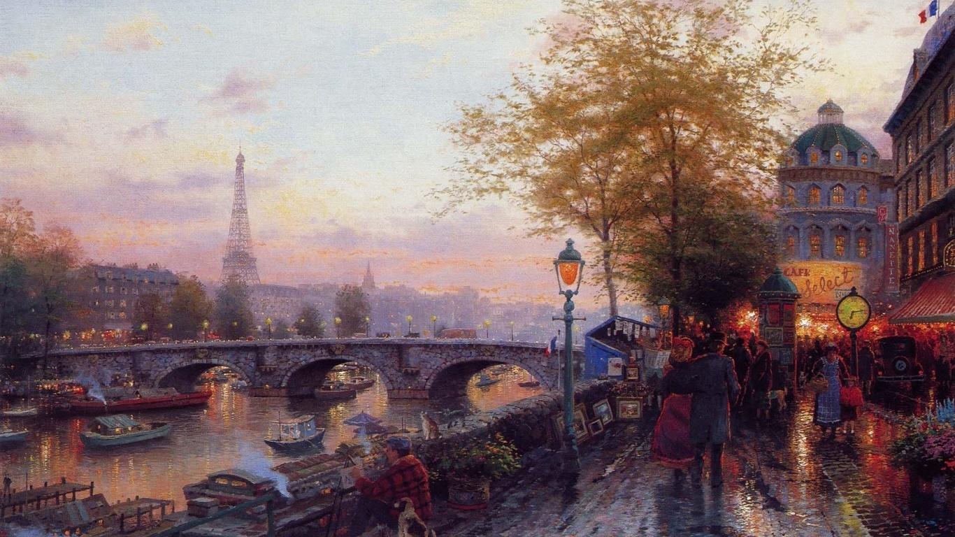 томас кинкейд, париж, эйфелева башня, картина