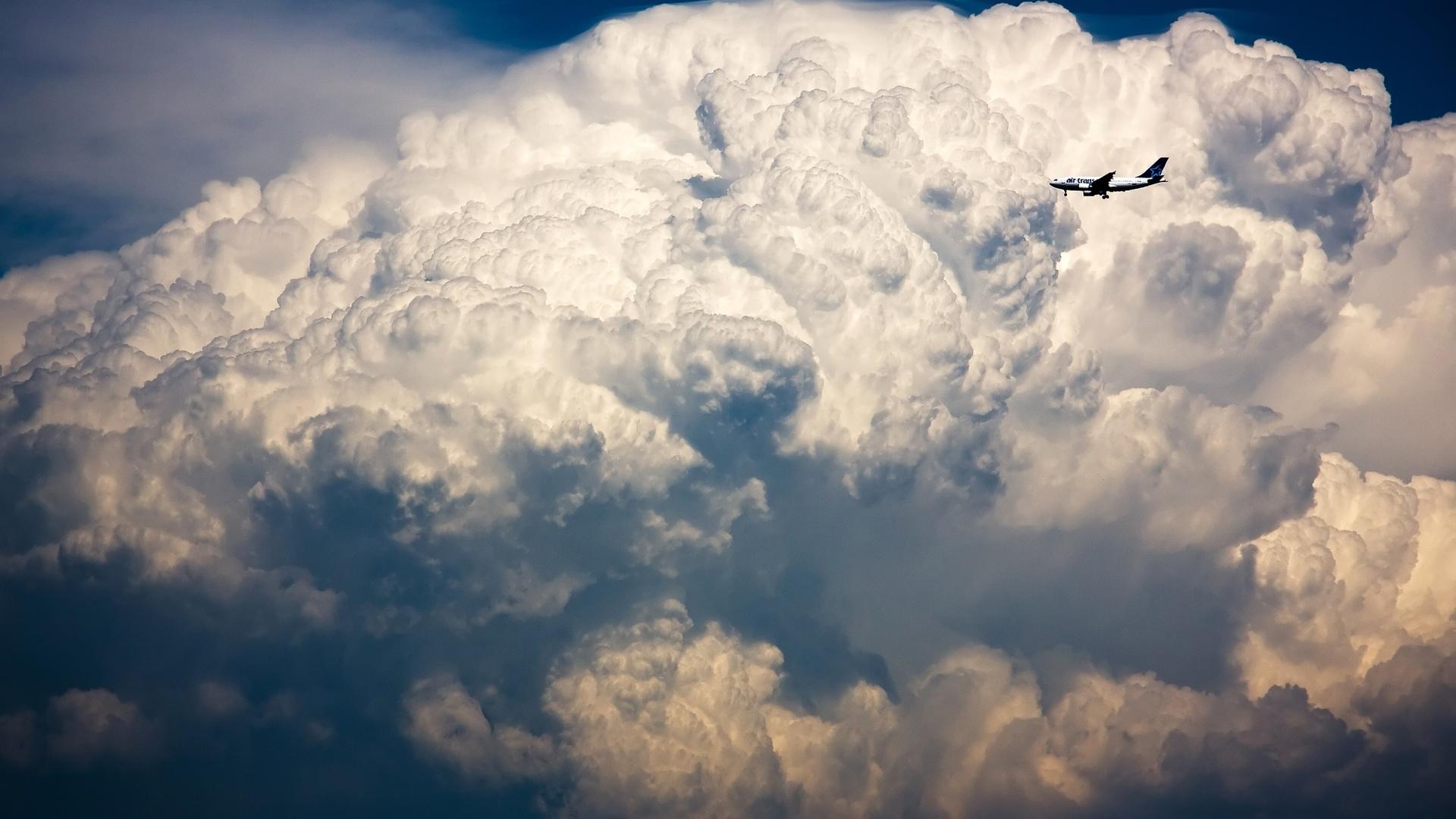 грозовая туча, самолет, небо, шторм