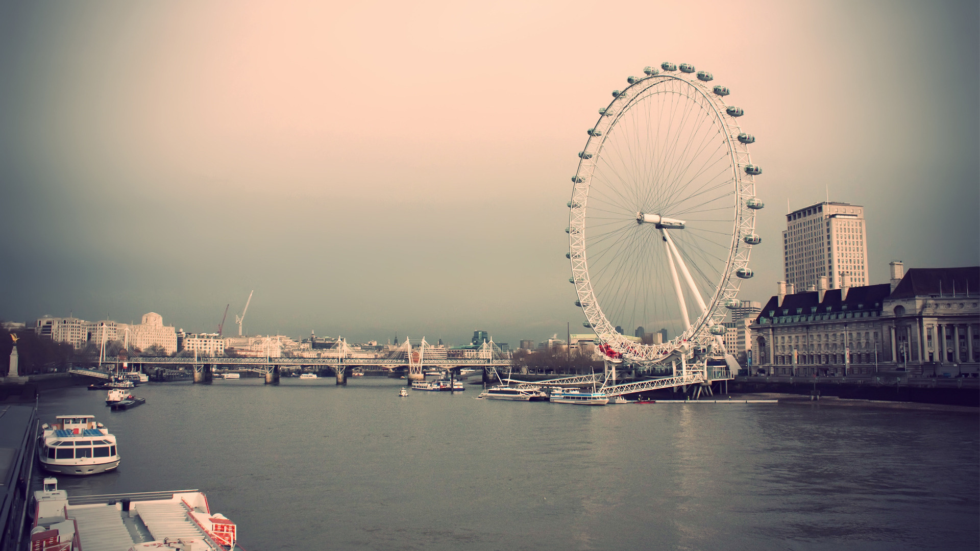 лондон, лондонский глаз, колесо обозрения, небо, река, дома, здания, великобритания, город