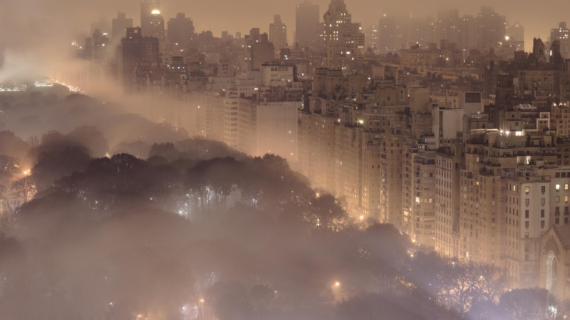 города, пейзажи, нью-йорк, new york, город, ночь, огни, туман, центральный парк, central park, здания