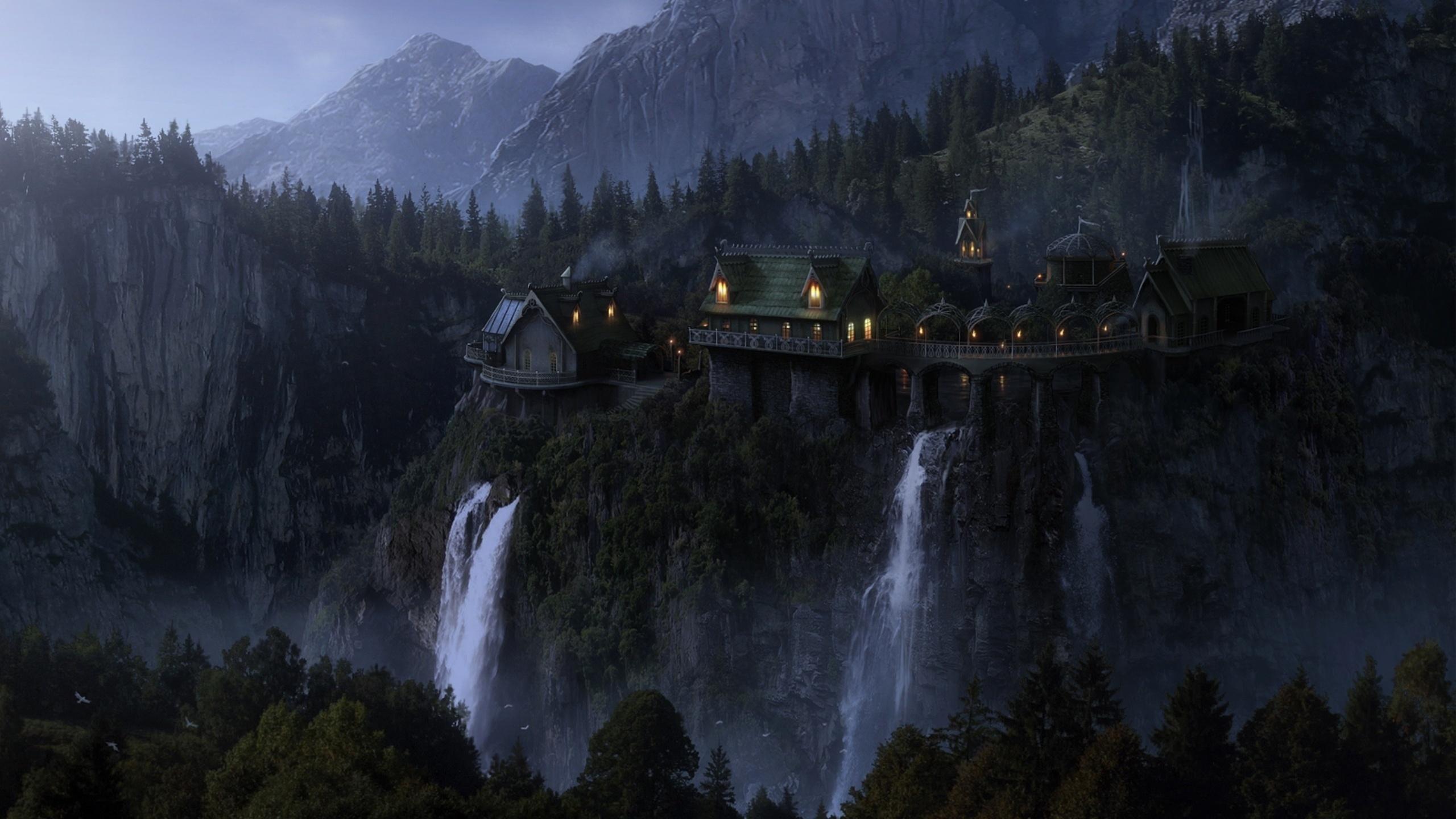 властелин колец, ривенделл, имладрис, фэнтези, эльфийский замок, замок элронда, огни, водопады