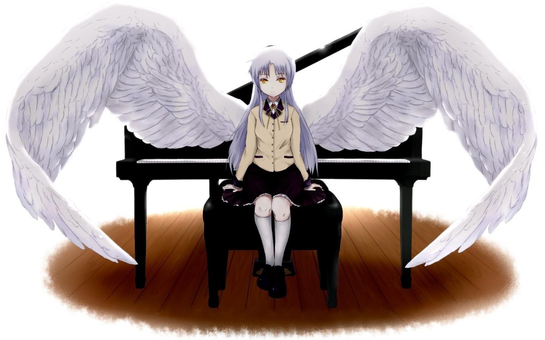 ангельские ритмы, пианино, крылья, Angel beats!