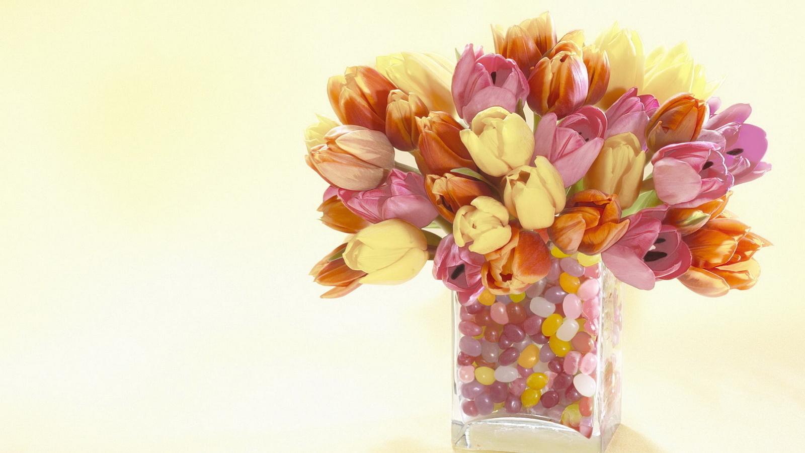 Цветы, ваза, тюльпаны