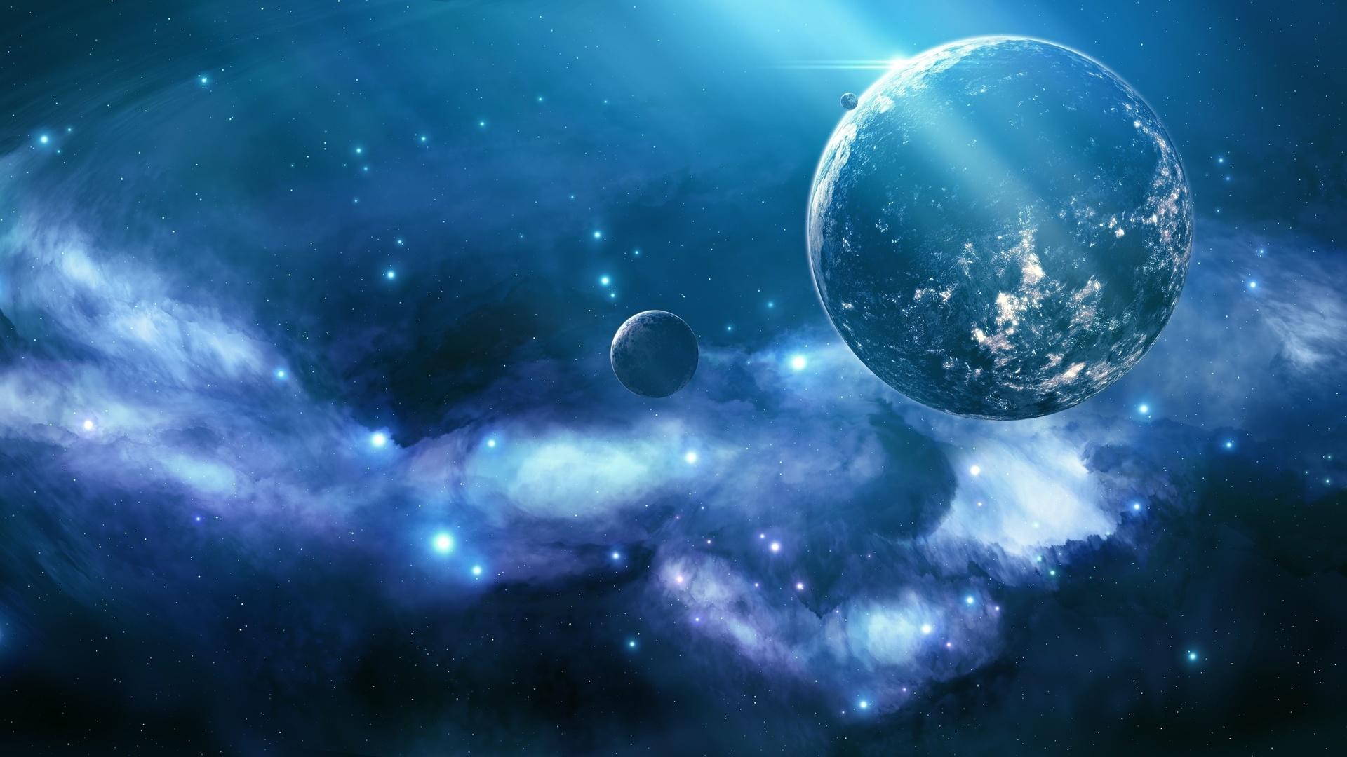 Blue nebula, unknown planet, космос, сияние, звёзды, туманность