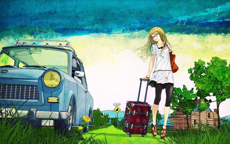 Blonde with suitcase, деревья, лето, девушна, чемодан