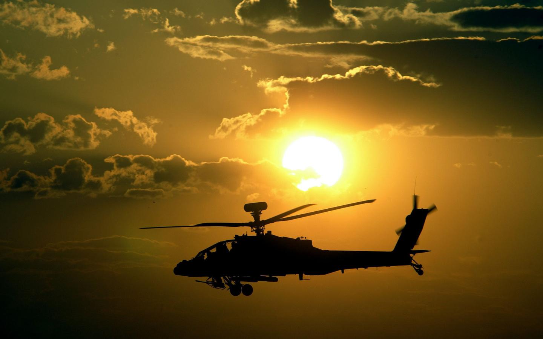 apache, закат, sunset, вертолет, Helicopter