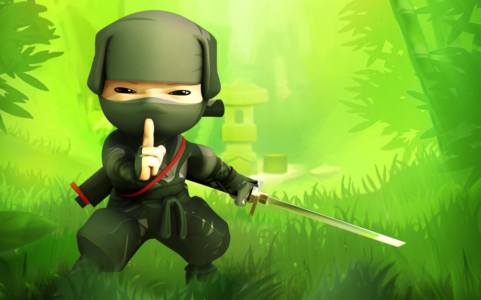 game, воин тени, ниндзя, зелень, tss, трава, Mini ninja, green, grass