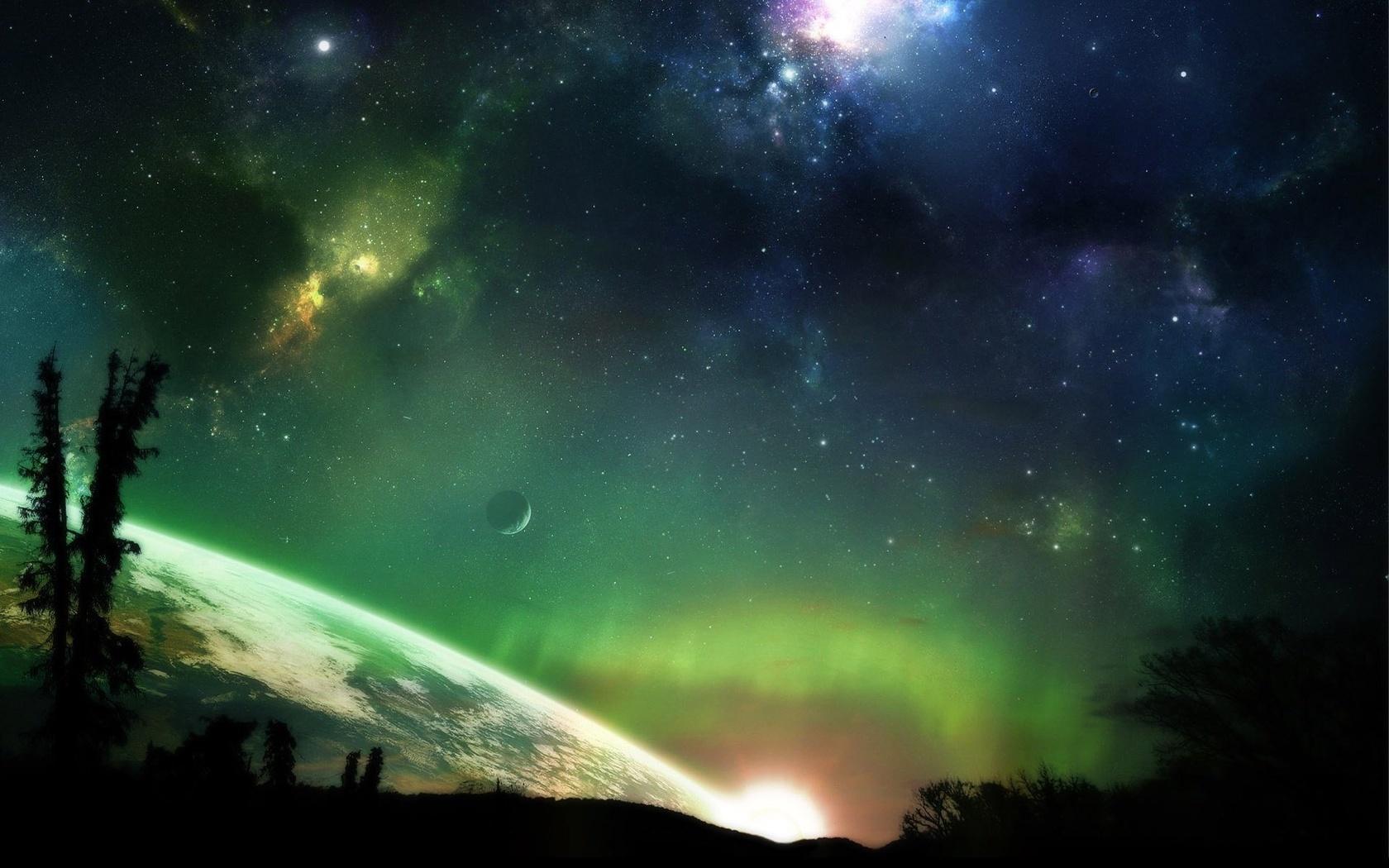 звезды, планета, Aurora borealis, вселенная