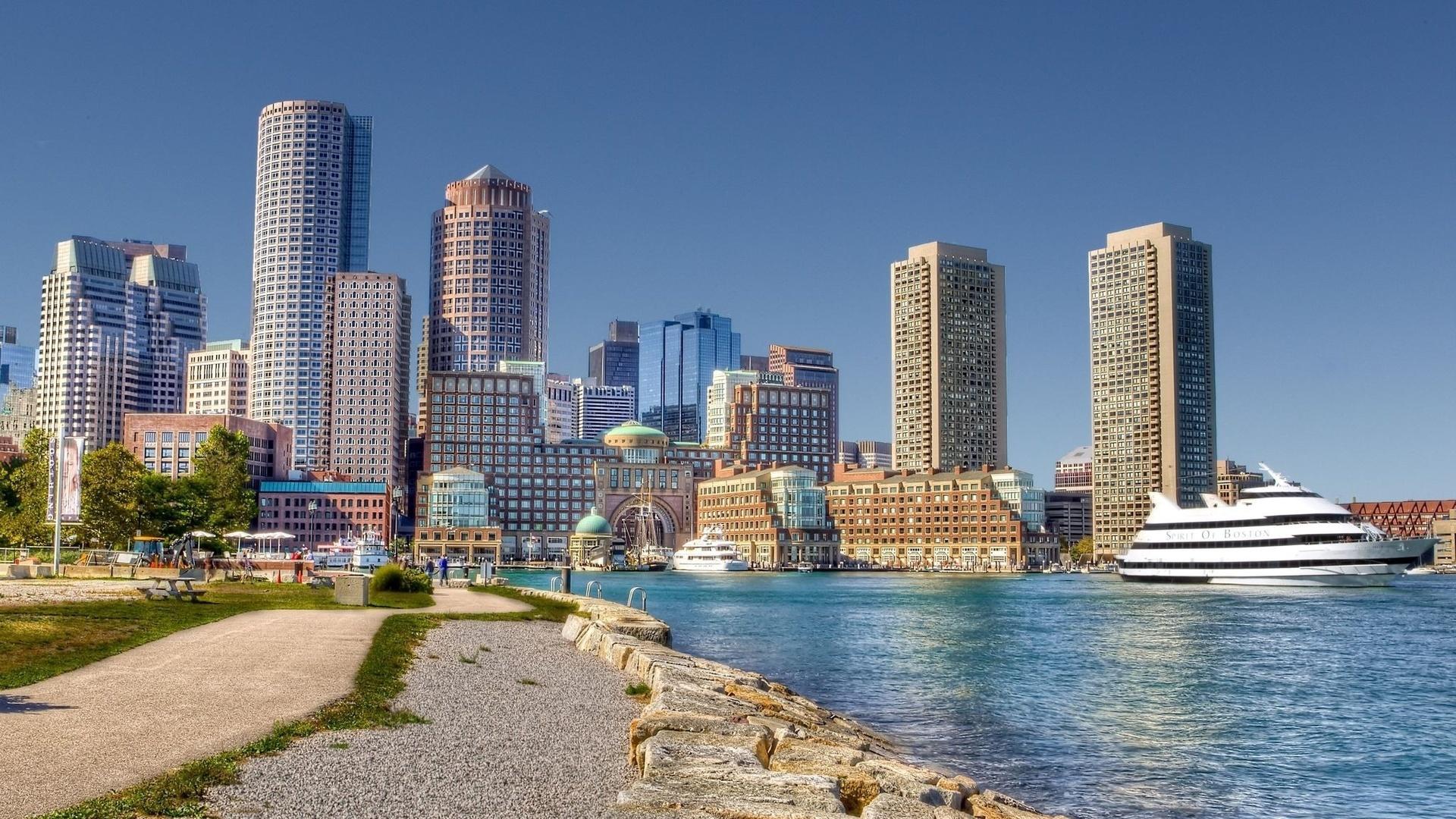 архитектура, Boston, набережная, бостон