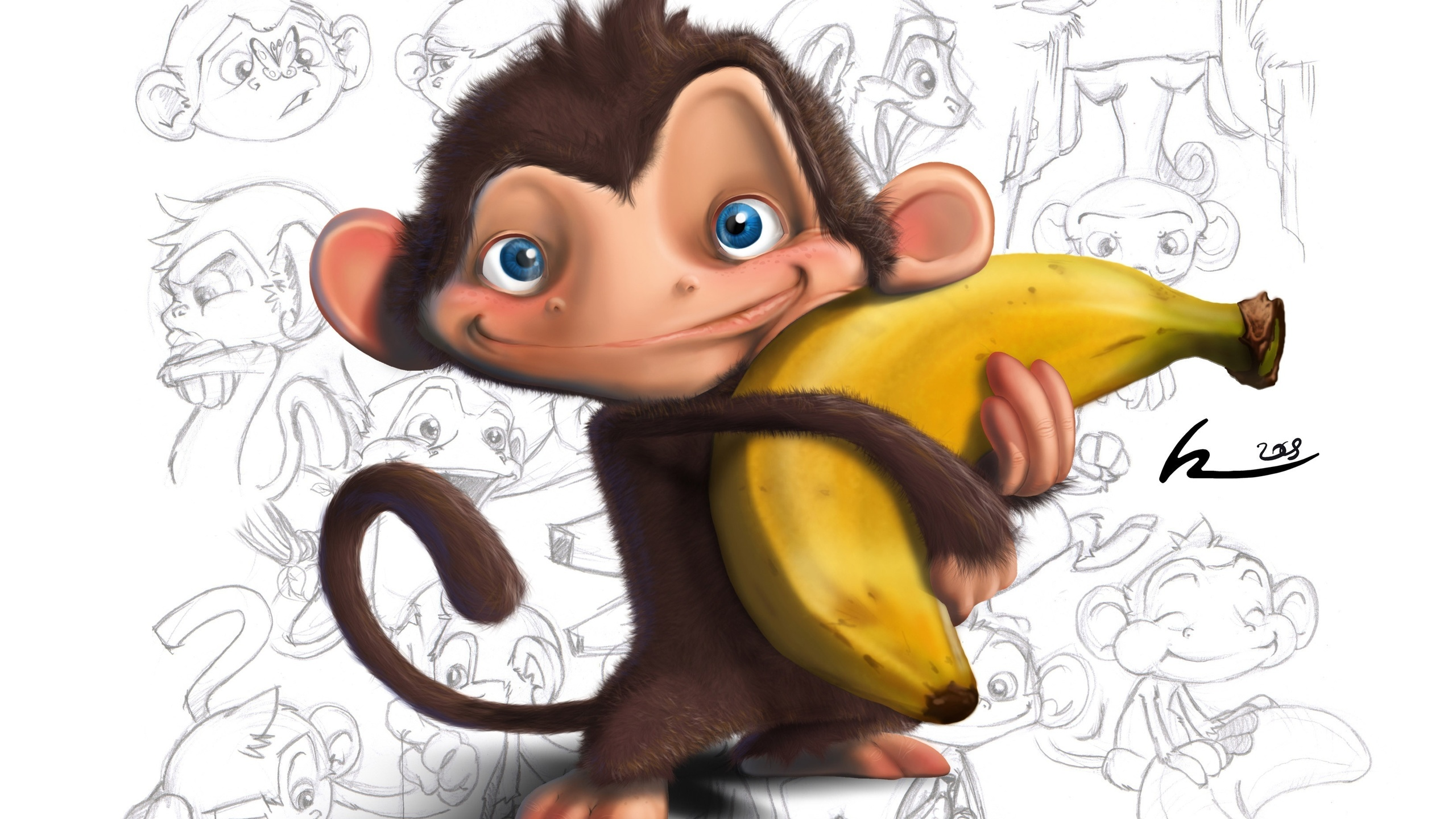 Смешные нарисованные картинки обезьян, индексом