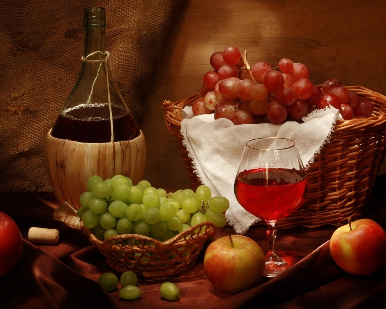 Картинки, открытка с фруктами и вином