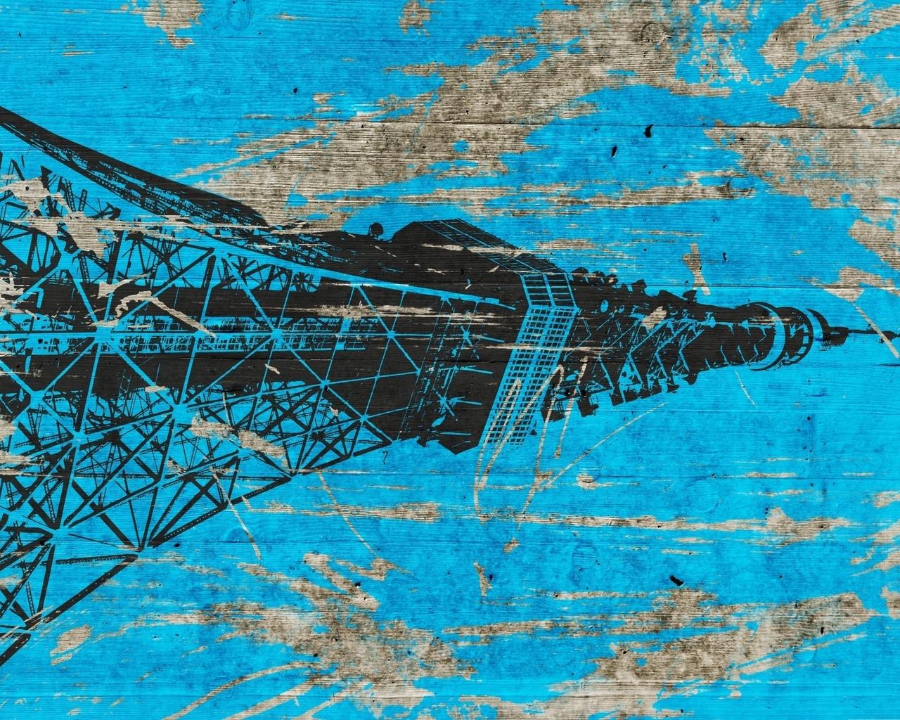 доски, Токийская башня, краска