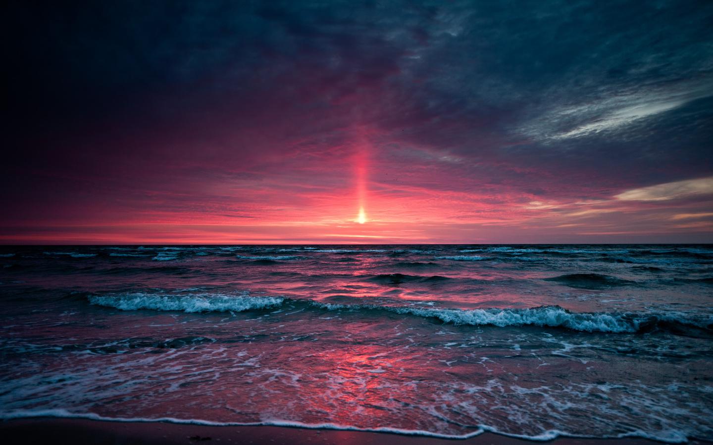 Закат, sunset, небо, море
