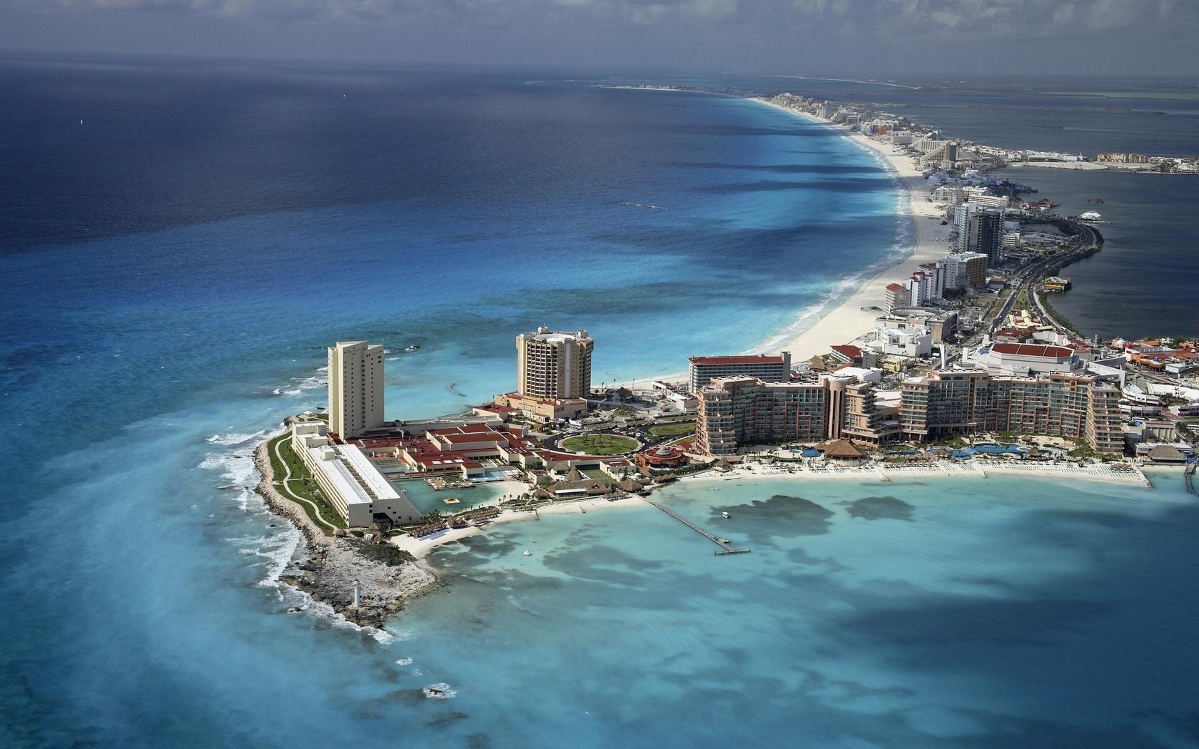 небо, Cancun, mexico, пляж, океан, вода, мексика, дома