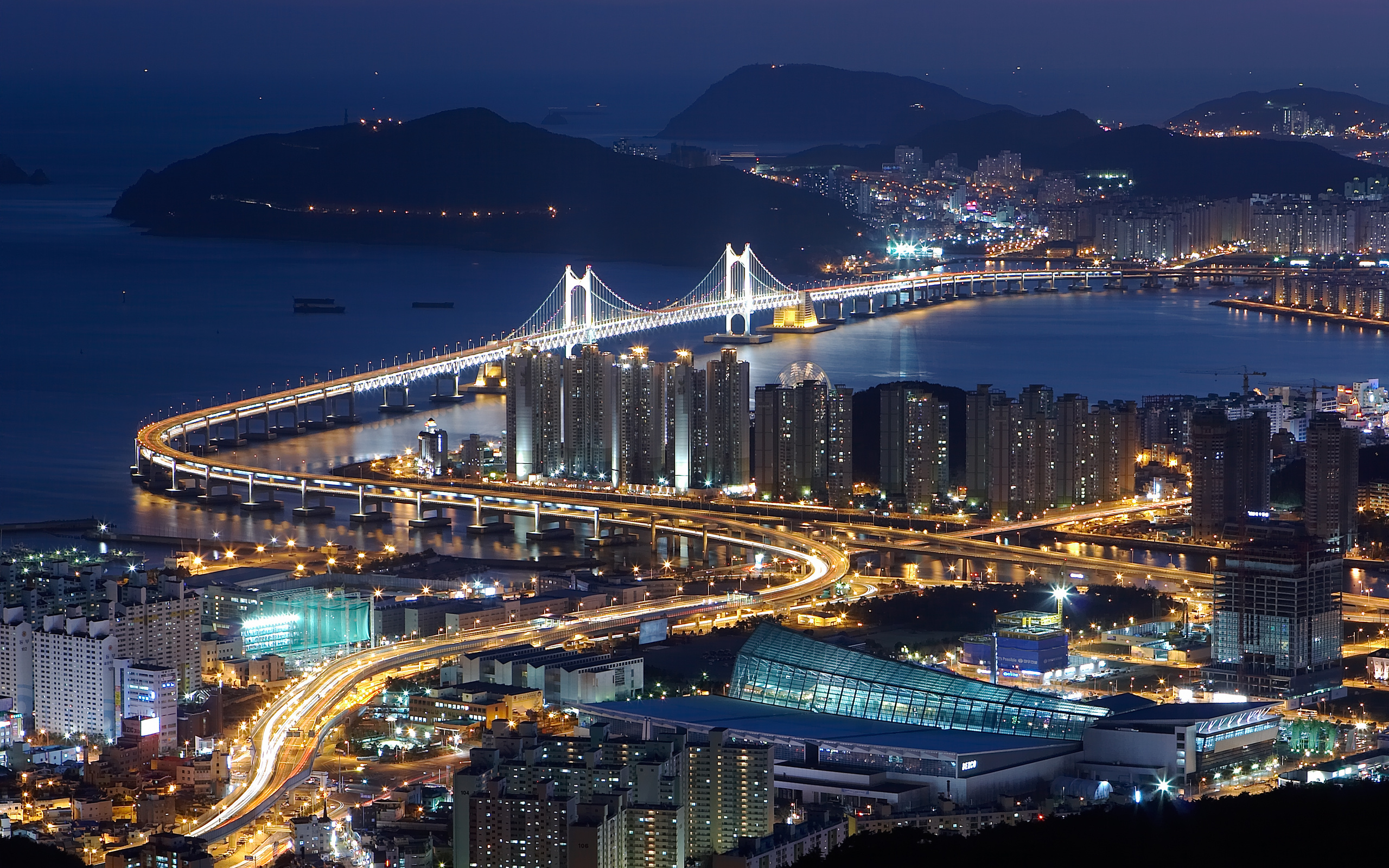 залив, ночь, дома, Город, мост, огни