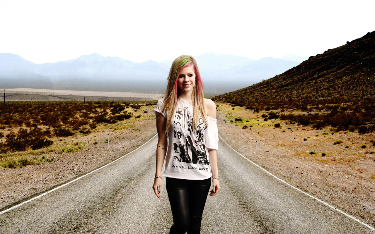 Avril lavigne, певица, девушка, music, дорога, the long road, singer, горы
