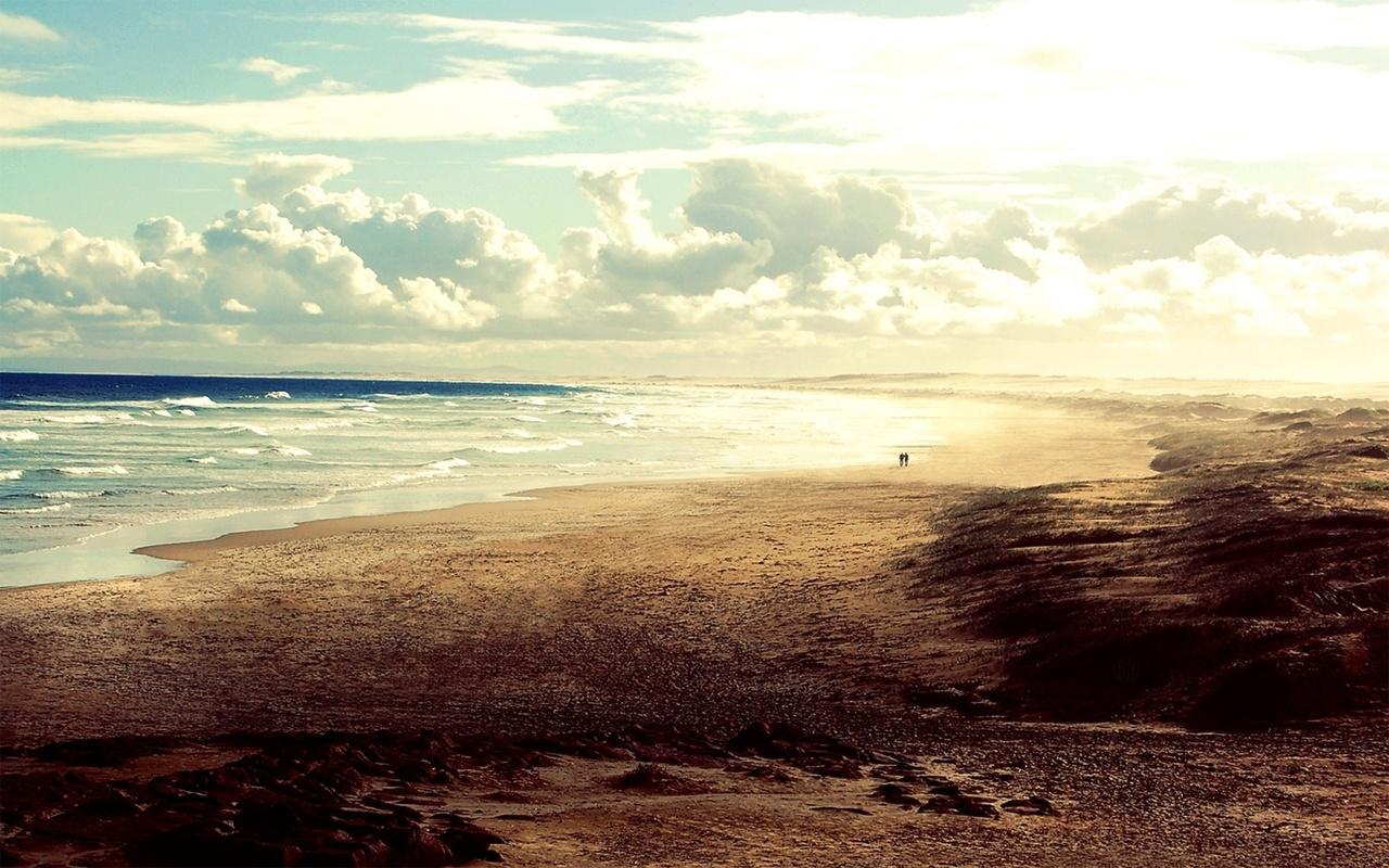 горизонт, небо, песок, волны, Пляж, океан, люди