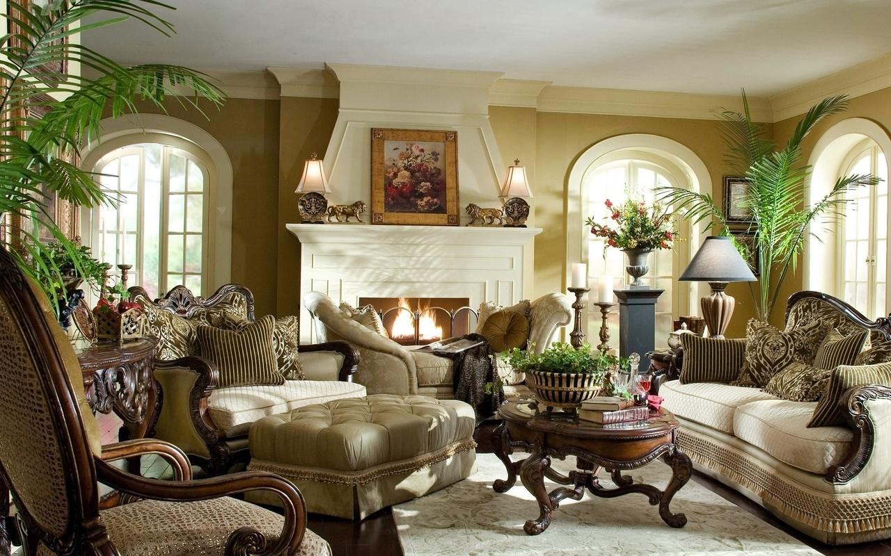 картины, Комната, статуэки, камин, классика, диваны