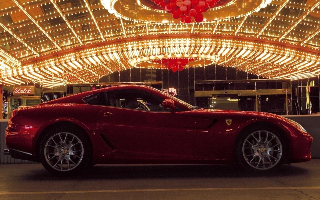 Ferrari, тачка, огни, красная, вечер